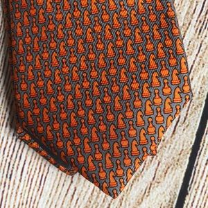 Hermès Paris 100% Silk Tie Orange/Gray Chess Piece